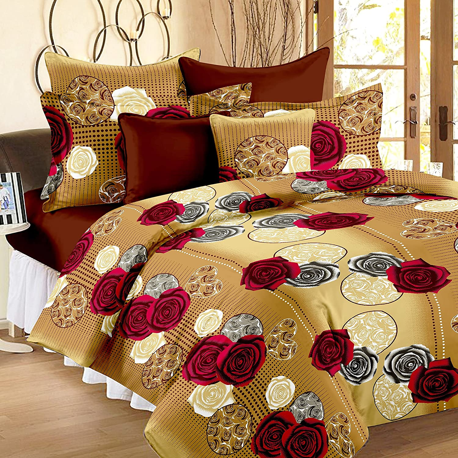 Floral cotton bed sheets - Story Home 120 Tc Vivid Roses Cotton Double Bedsheet With 2 Pillow Covers Cream Amazon In Home Kitchen