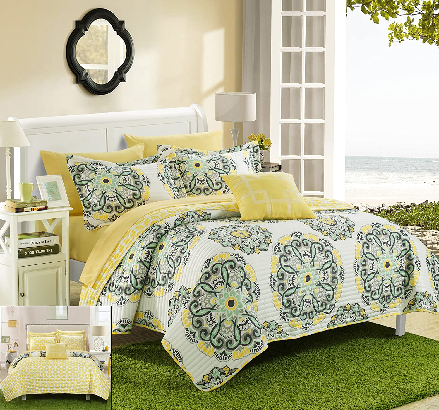 Chic Home 3 Piece Madrid Printed Medallion Reversible Geometric Backing Quilt Set, Twin, Yellow