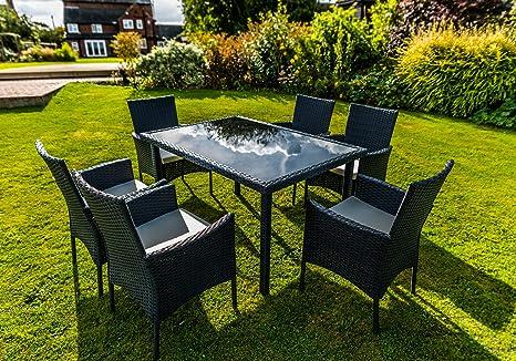 Kingfisher Black juego de 7piezas efecto ratán al aire libre jardín de muebles de comedor