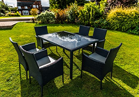 Kingfisher nero 7pezzi effetto rattan set mobili da pranzo da giardino