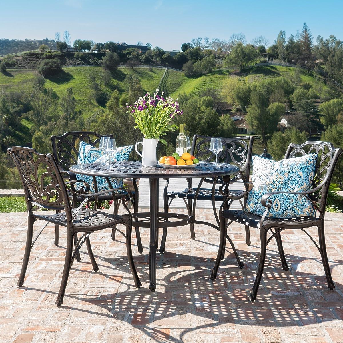 Calandra Patio Furniture ~ 5 Piece Outdoor Cast Aluminum Circular Table Dining Set