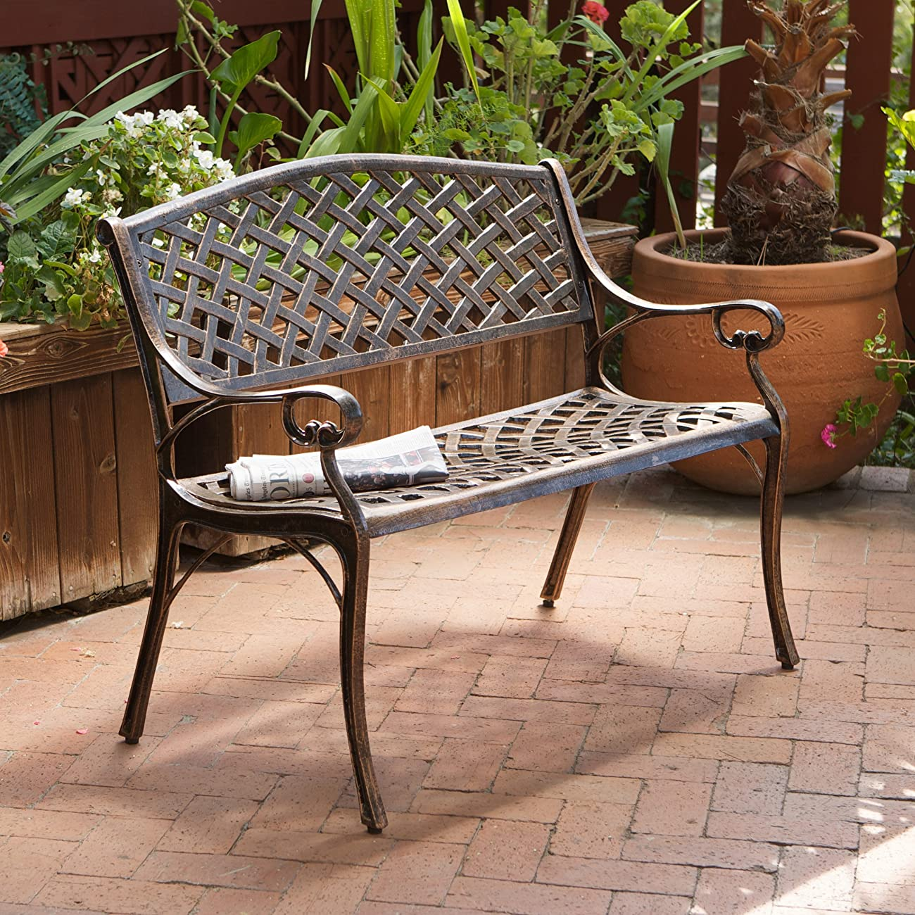 Best Selling Cozumel Cast Aluminum Bench, Antique Copper Finish 3
