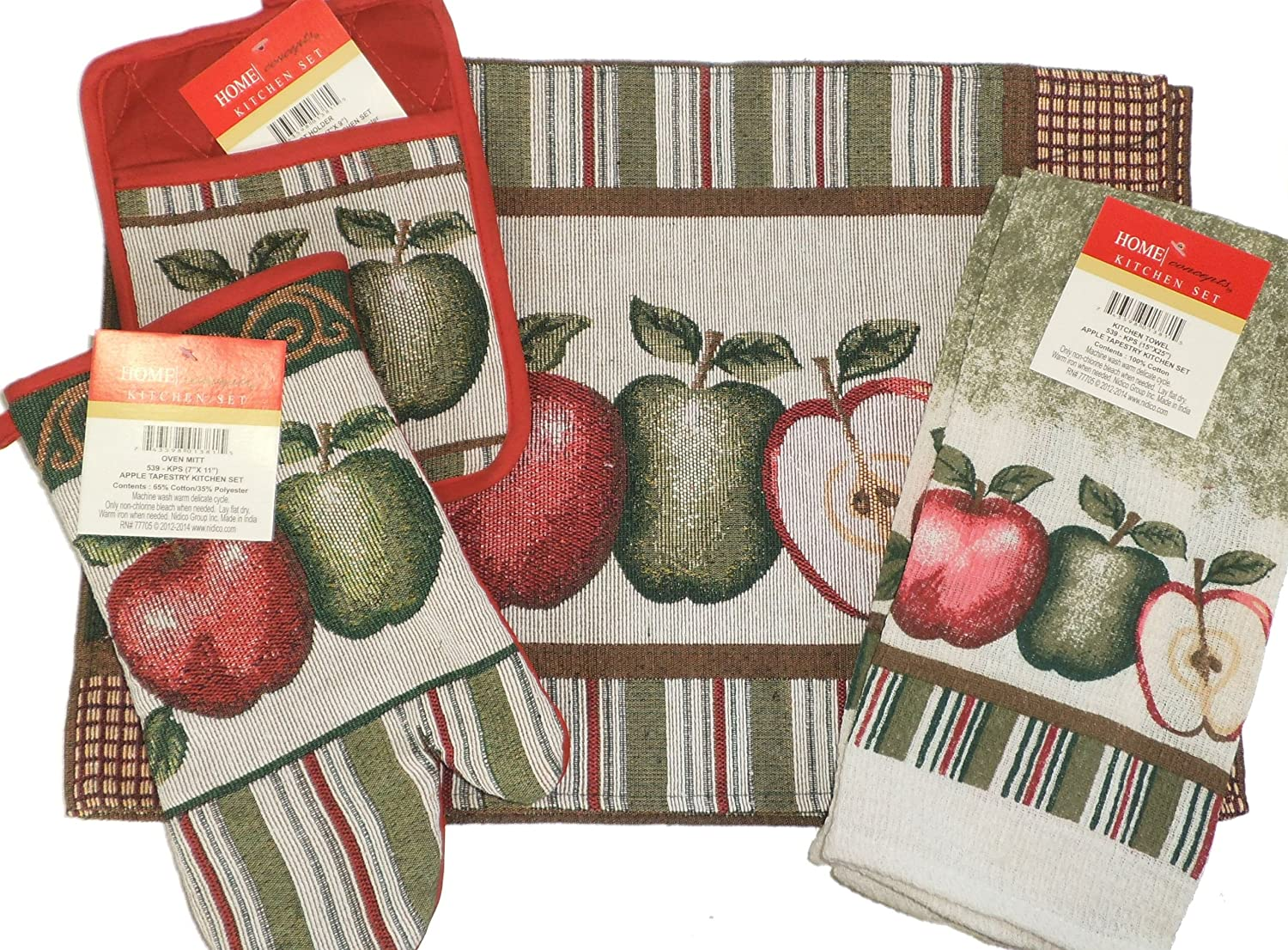 8 Piece Red Apples Kitchen Set with Potholders, Oven Mitt, 4 Placemats & 2 Towels hospital cleaner disinfectant towels 6 3 4 x 8 150 can 8 canisters carton