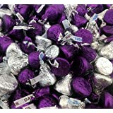 Hershey's Kisses, Mix Milk Chocolate and Dark Chocolate Kisses Purple, Silver Foil (Pack of 2 Pound) (Color: silver, purple, Tamaño: 32 Ounces)