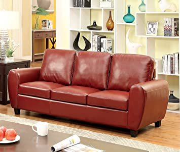 Furniture of America Ansel Leatherette Sofa, Red