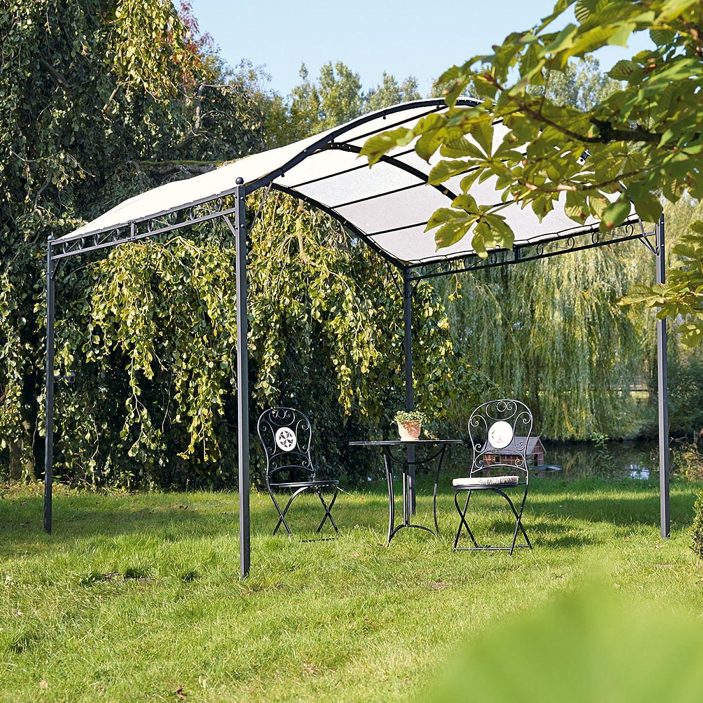 Garten-Pavillon Eisengestell creme/schwarz ca. 295 x 300 x 265 cm