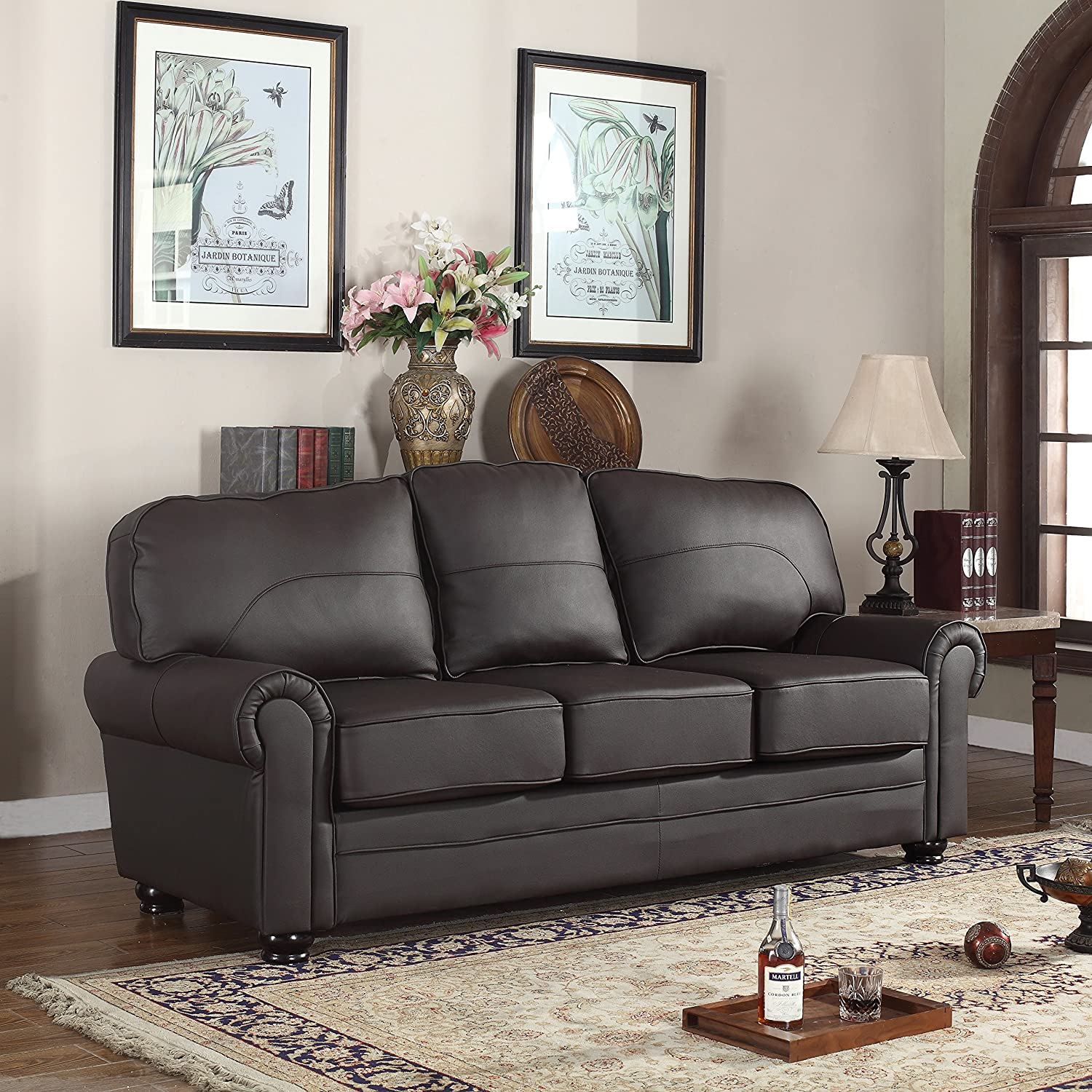 Divano Roma Furniture Traditional Collection - 3 Piece Living Room Set - Brown REAL Leather Upholstered Sofa - Love