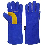KIM YUAN Extreme Heat/Fire Resistant Gloves Leather with Kevlar Stitching, Mitts Perfect for Welding/Oven/Grill/BBQ/Mig/Fireplace/Stove/Pot Holder/Tig Welder/Animal Handling, (14in-blueyellow) (Color: Yellow palm-Denim jean cuffs, Tamaño: 14in-blueyellow)