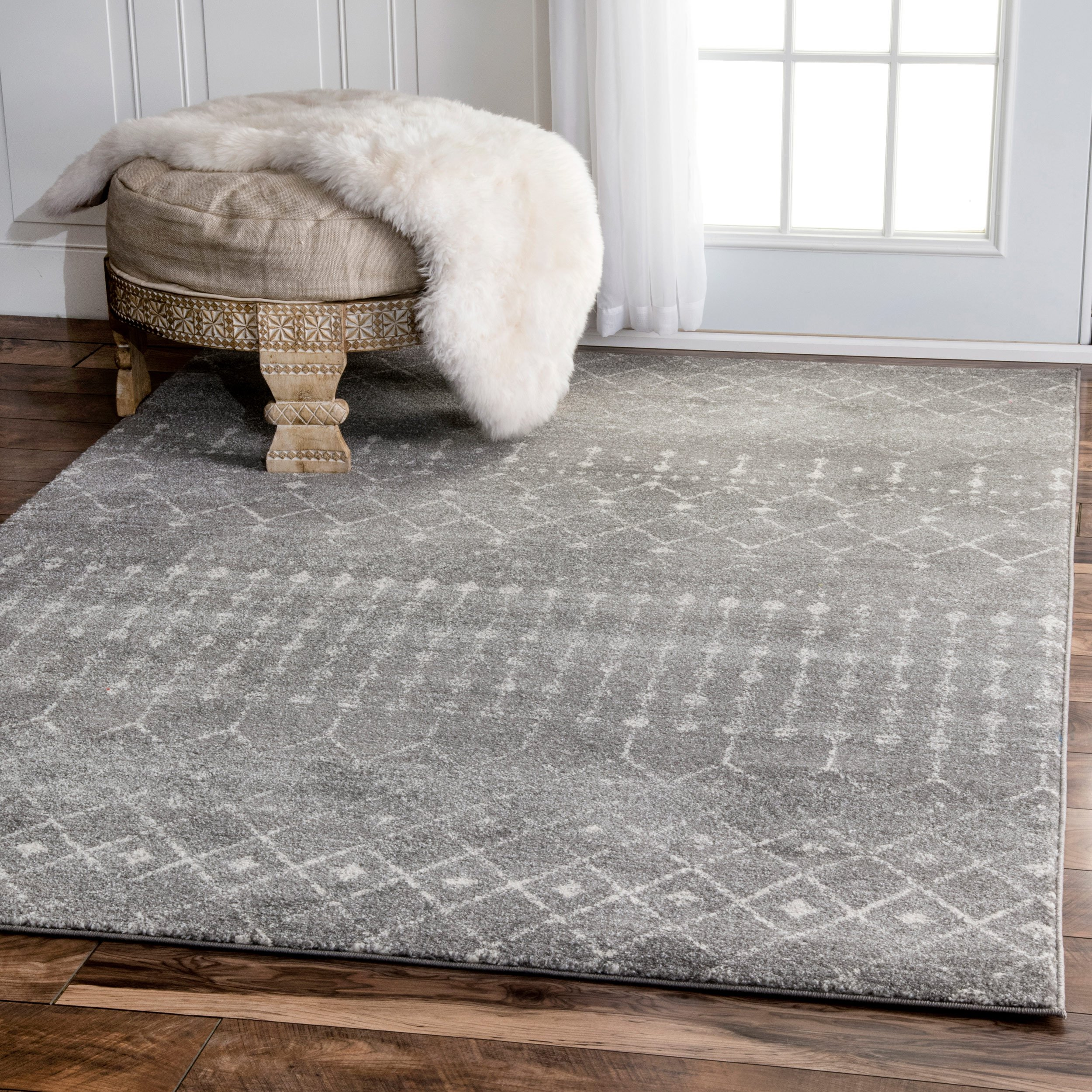 Traditional Vintage Moroccan Trellis Dark Grey Area Rugs