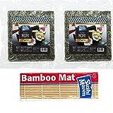 Sushi Maven Sushi Nori Premium/Gold Organic Roasted Seaweed - 2packs of 50 Full Sheets with 1 Bamboo Mats