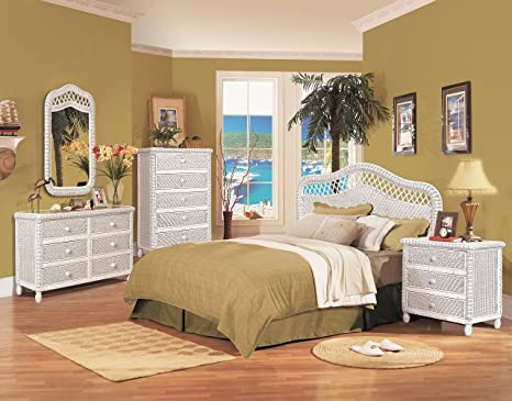 Santa Cruz 4 Piece Wicker Bedroom Group White