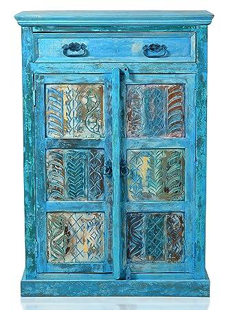 """Sit-Möbel 1269-13 suite cómoda """"Blue"""", auténtica madera, piel, 2 puertas, 1 cajón, 4 estantes continuo, 1,5 cm de grosor, 5 compartimentos, capacidad de carga por balda 30 kg, capacidad de carga total 60 kg, 82 x 40 x 1"""