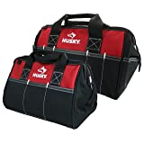 Husky 12 Inch and 15 Inch Water Resistant Tool Bag Multi Pack (2 Piece Storage Bundle) (Color: Red|Red and Black)