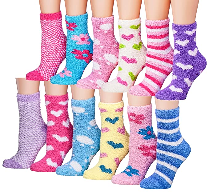 Tipi Toe Women's 12-Pairs Patterned Or Solid Anti-Skid Soft Fuzzy Crew Socks, (sock size 9-11) Fits shoe size 6-9, FZ05-12