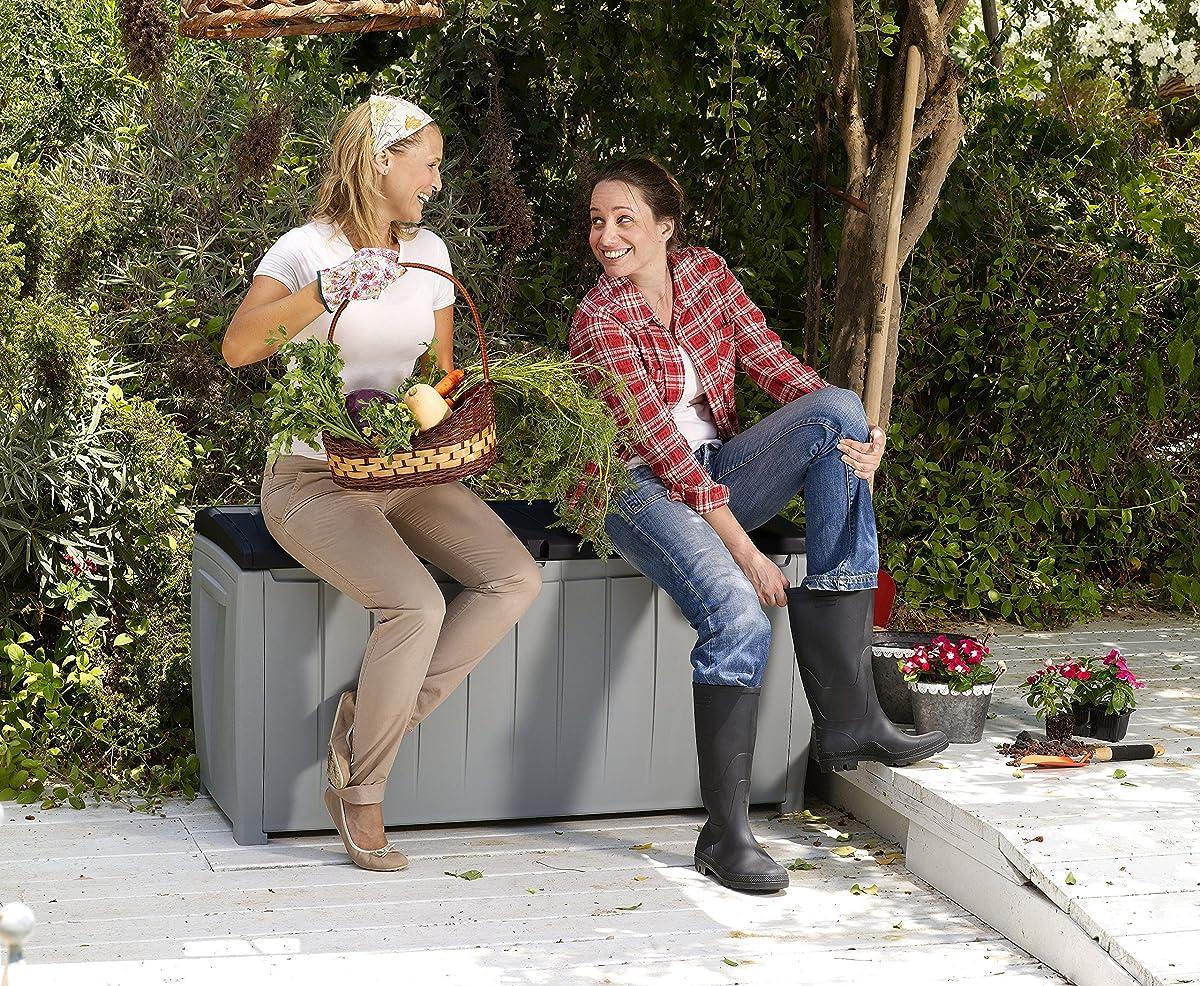 Keter Novel Plastic Deck Storage Container Box Outdoor Patio Garden Furniture 90 Gal, Black