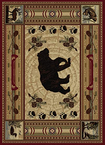 Bear with Pine Cone Accents Rug