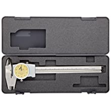 Brown & Sharpe 75.115821 Dial Caliper, Stainless Steel, Yellow Face, 0-150mm Range, +/-100mm Accuracy, 1mm Resolution, Meets DIN 862 Specifications