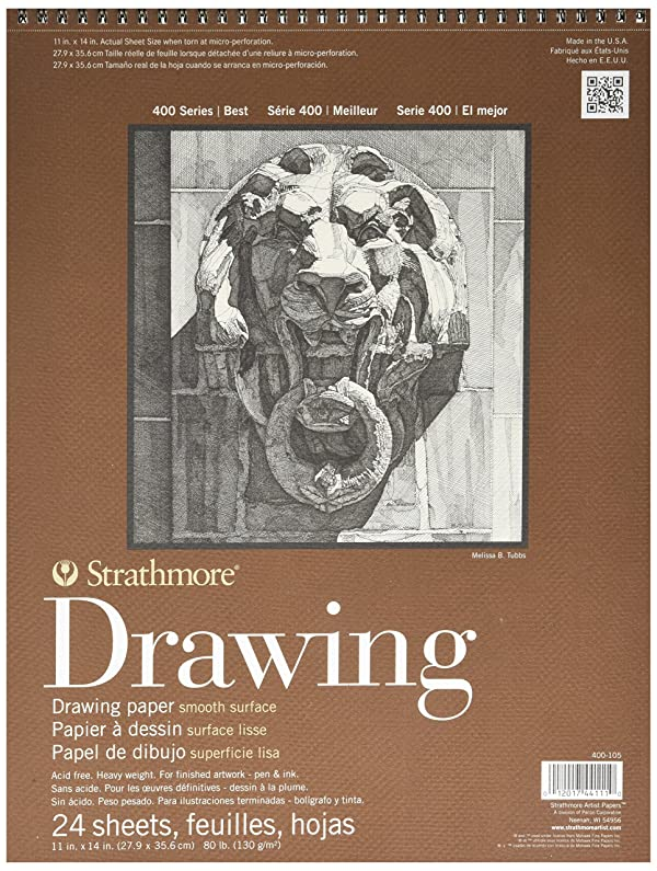 Strathmore 400-105 400 Series Drawing, Smooth Surface, 11x14 Wire Bound, 24 Sheets (Color: White, Tamaño: 11x14)