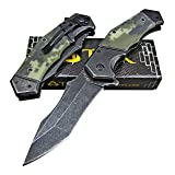 TEK Spring Assisted Opening Heavy Duty Folding Pocket Knife - 8Cr13MoV Razor Sharp Modified Drop Point Blade - Tough Sure Grip G10 Handles - Lightning