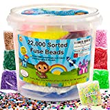 shinshin creation 22,000 Pre - Sorted Fuse Melty Beads Bucket Size 5mm 32 Colors Including Glow in The Dark Perler Compatible for Boy or Girl (Tamaño: 5mm)