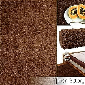 Alfombra moderna de descuento Basic marrón 10x10cm muestra - alfombra shaggy al precio súper económico   Comentarios de clientes y más información