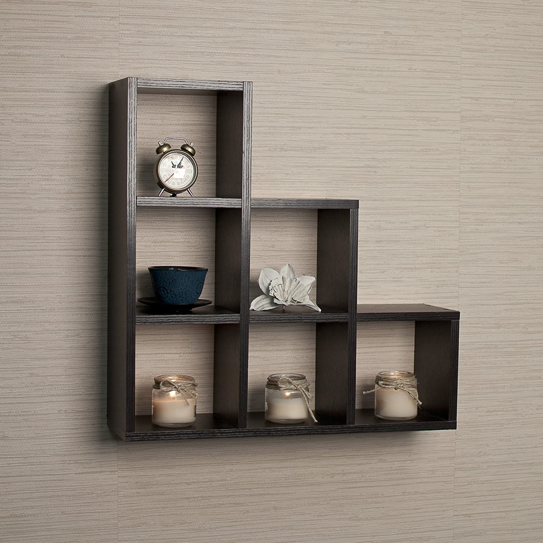 Stepped Six Cubby Decorative Black Wall Shelf