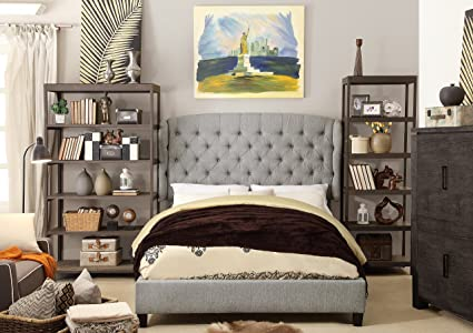 Millbury Home Feliciti Gray Tufted with Wings Queen Upholstery Platform Bed
