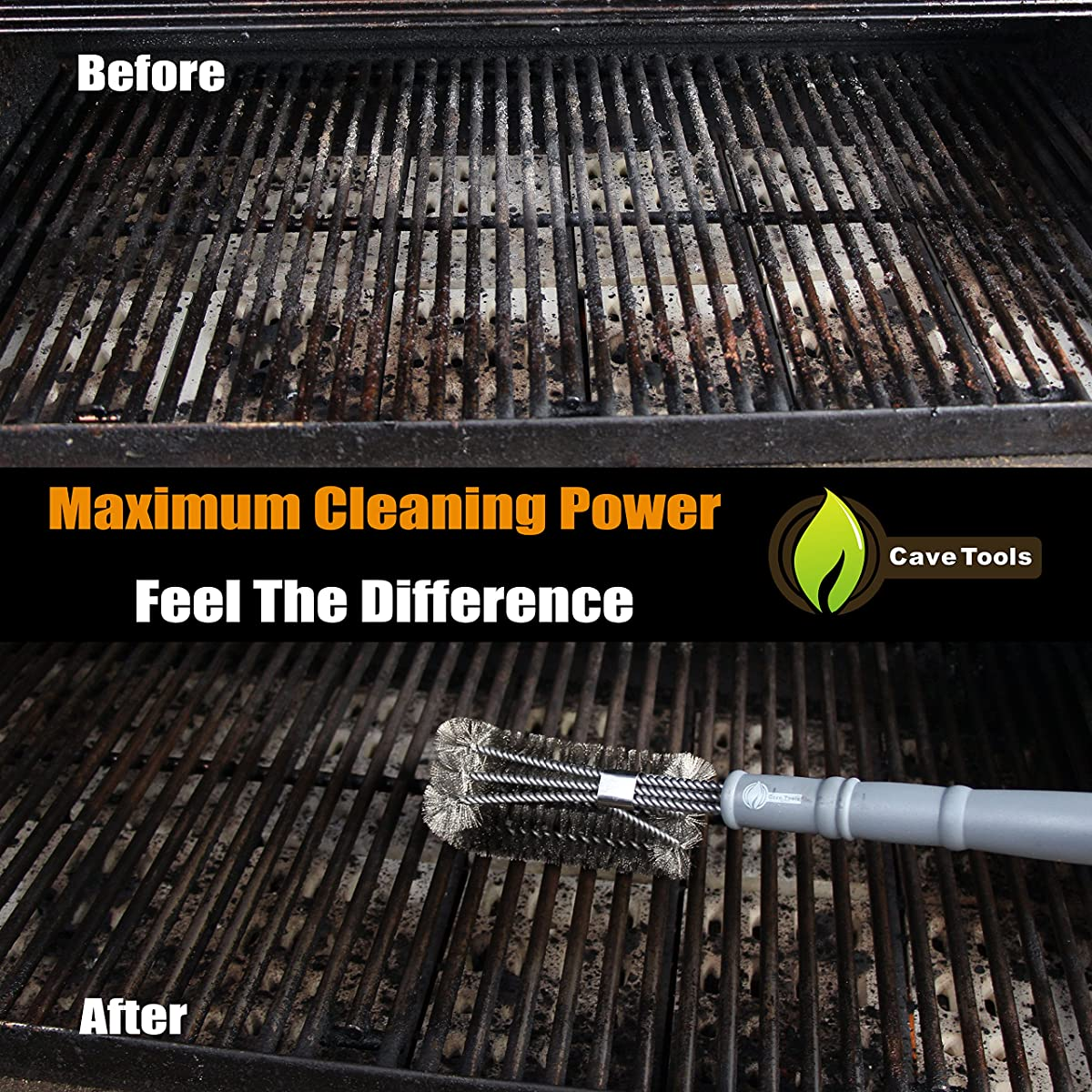 "BBQ Grill Brush - New & Improved 100% RUST PROOF DESIGN - Stainless Steel Wire Bristle with Strength Clip for Cleaning Char Broil Weber Porcelain and Infrared Barbecue Grates - 18"" Handle - Cave Tools"