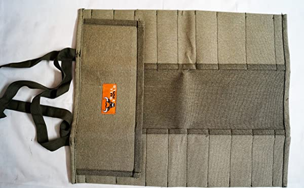 Bull Tools BT 1704 Tool Roll 20 pocket 100% Dyed ans Sand Washed 15 Oz. Cotton Duck Canvas Olive Drab (Color: Sand Washed Olive Drab)