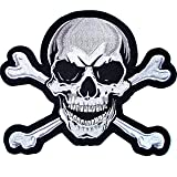 XL Skull & Crossbones Large Center Back Patch Embroidered Iron On Motorcycle Vest Biker Jacket - by Nixon Thread Co. (10.5