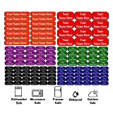 126 Personalized Waterproof Name Labels. Press and Stick Multi use Custom Name Labels. Highly Durable Customized Name Stickers with Permanent Self Adhesive. Great for School, Daycare or Camp. (Color: 126 Labels - Colored Background)
