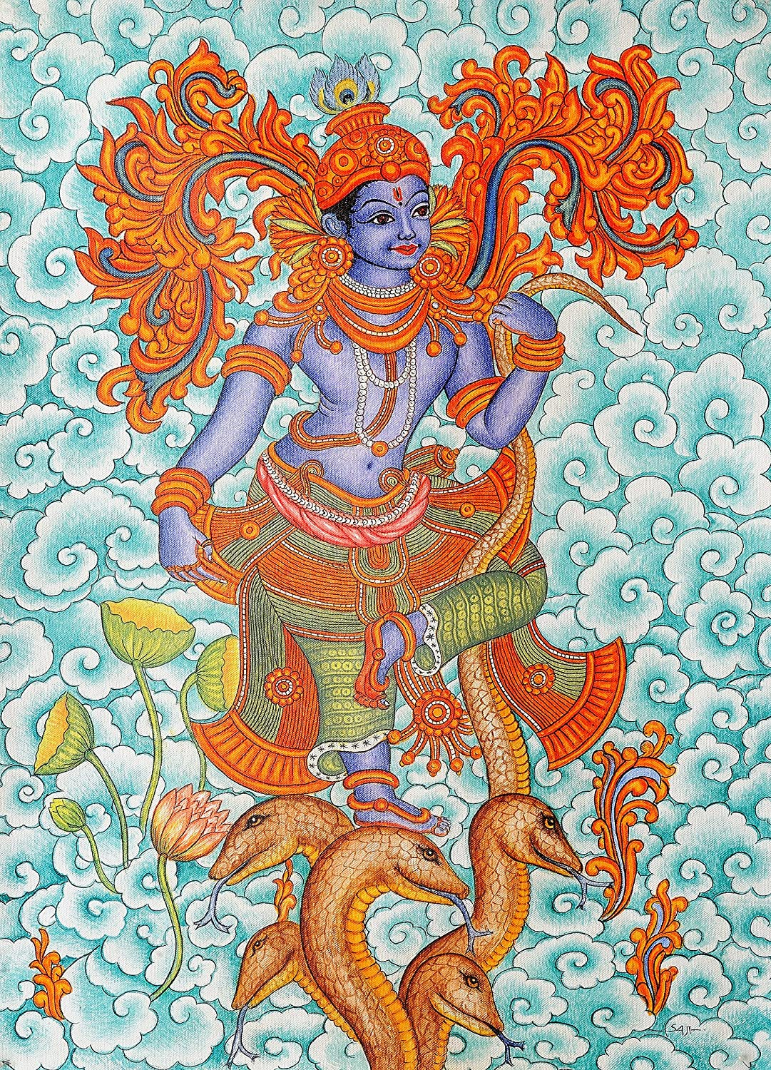 The gallery for easy krishna mural paintings for Mural kerala
