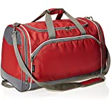 AmazonBasics Small Lightweight Durable Sports Duffel Gym and Overnight Travel Bag - Red (Color: Red, Tamaño: Small)