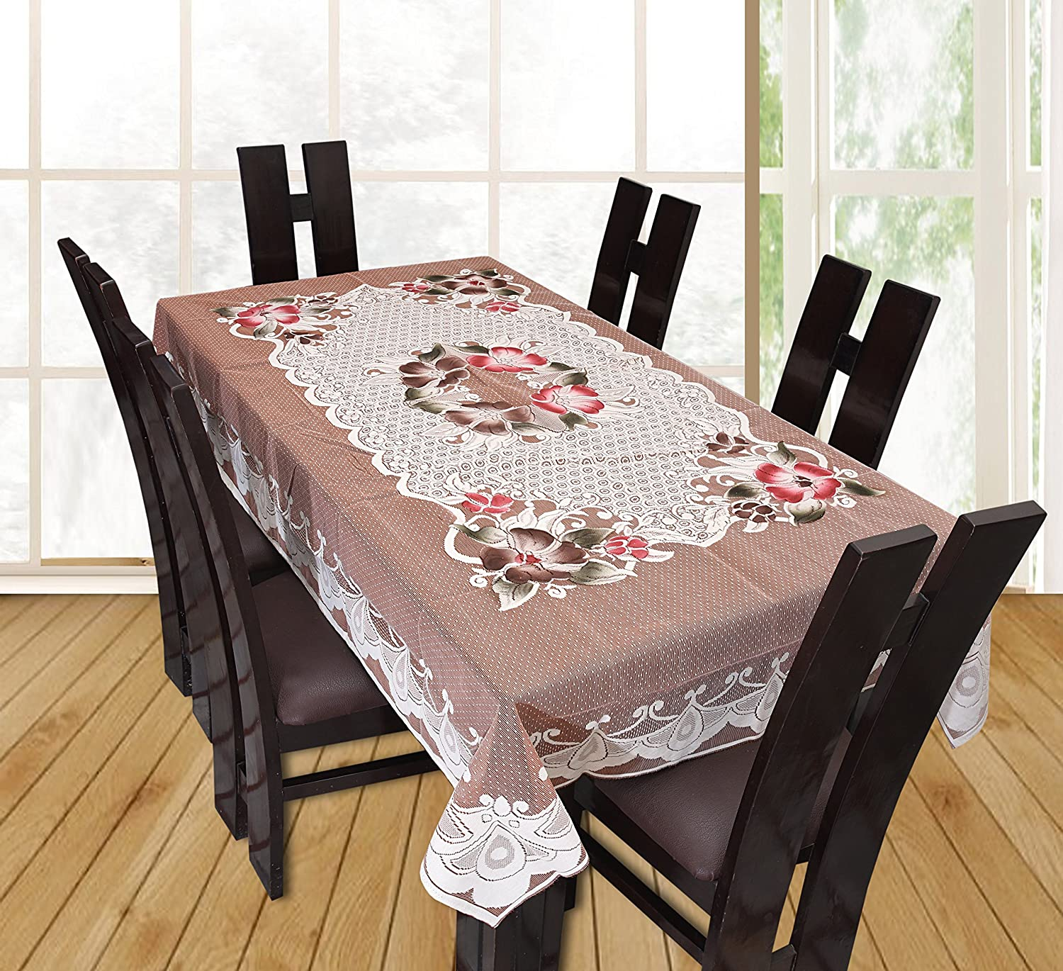 Yellow Weaves Designer Dining Table Cover Beige Net Cloth 6 Seater 60x90 Inches Exclusive