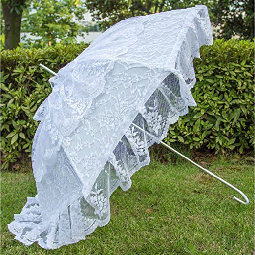 Vintage Style Parasols and Umbrellas Battenburg Lace Parasol Aluminum Wedding Bridal Party Decoration Props Large Umbrella                                AT vintagedancer.com