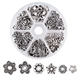 Pandahall 1Box/180pcs Tibetan 6 Styles Alloy Flower Petal Bead Caps Multi-Petal Cones Beads Spacers Stamped for Jewelry Makings 6.5-10.5mm in Diameter Antique Silver (Color: 6.5~10.5mm-silver, Tamaño: one size)