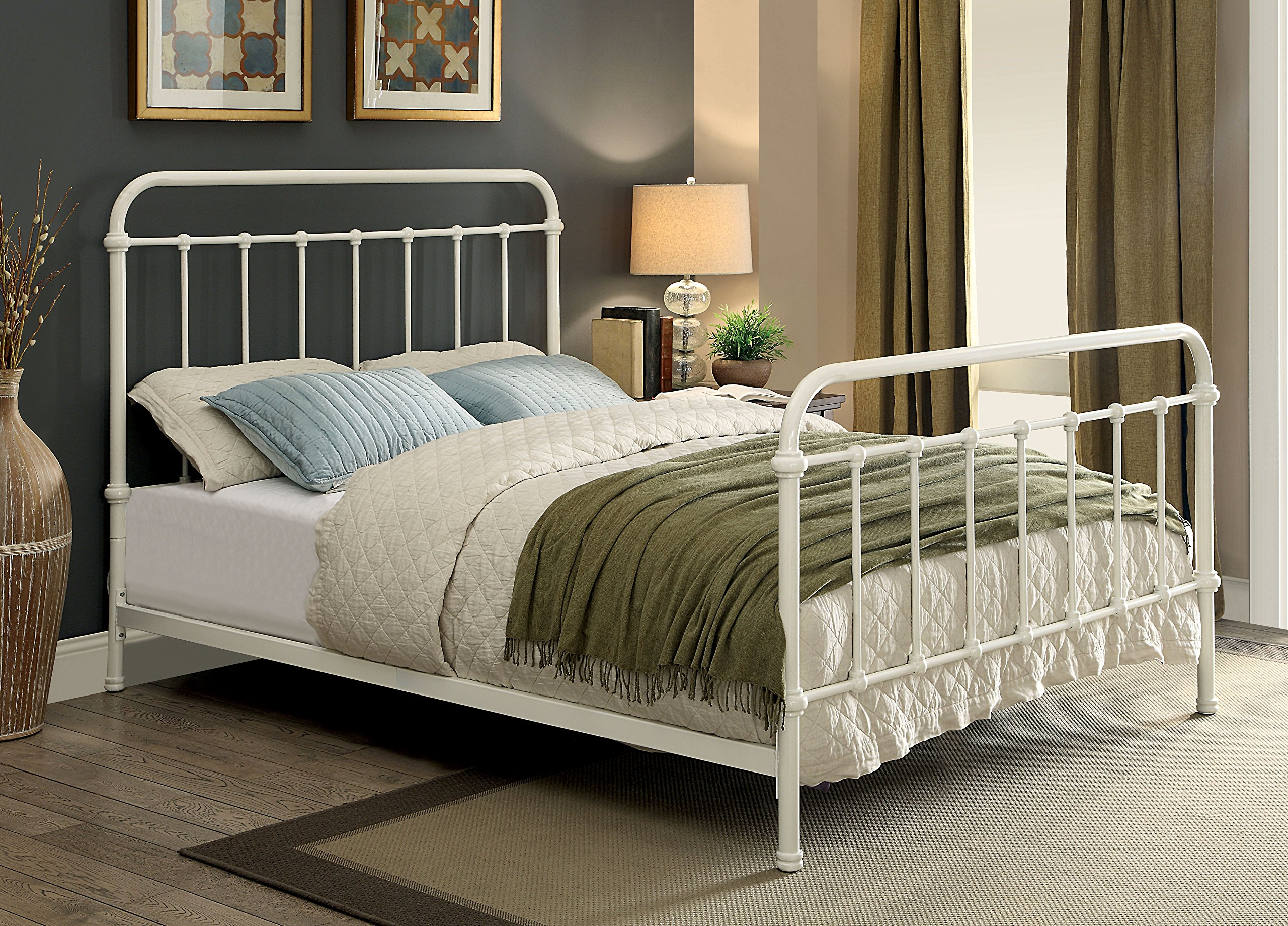 White Metal Bed Queen: Furniture Of America Overtown Metal Bed, Queen, Vintage White