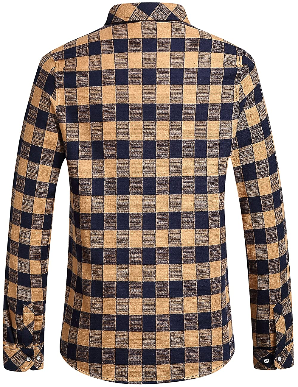 SSLR Men's Gingham Flannel Vintage Long Sleeve Shirt 1
