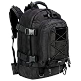 WolfWarriorX Military Tactical Assault Backpack 3-Day Expandable Backpack Waterproof Molle Rucksack For The Outdoors, Camping, Hiking & Trekking (Black) (Color: Black)