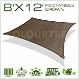 ColourTree 2nd Gen 8' x 12' Brown Sun Shade Sail Rectangle Canopy Awning, Heavy Duty Commercial Grade ,We Make Custom Size