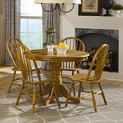 Brooks Furniture Traditional 24242M-1318M Square Round Dropleaf Pedestal Table and 4 Spindle Back Side Chairs, Medium, Oak Finish