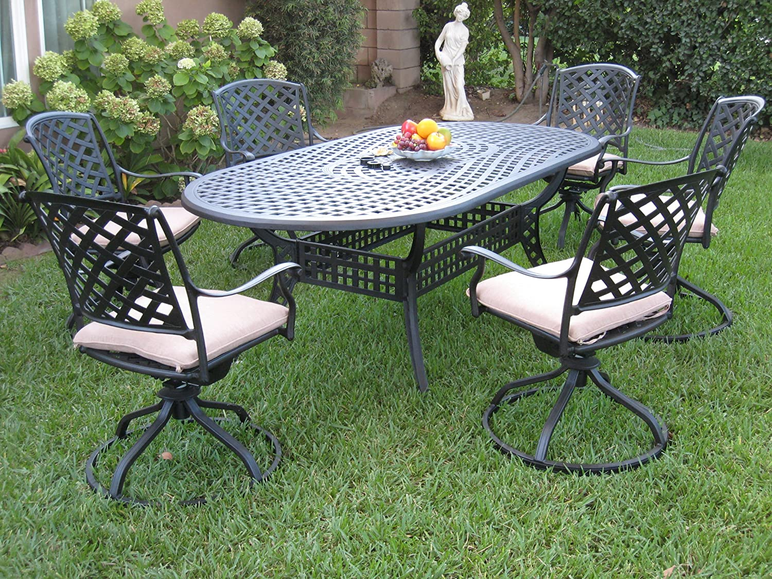 Outdoor Cast Aluminum Patio Furniture 7 Piece Dining Set