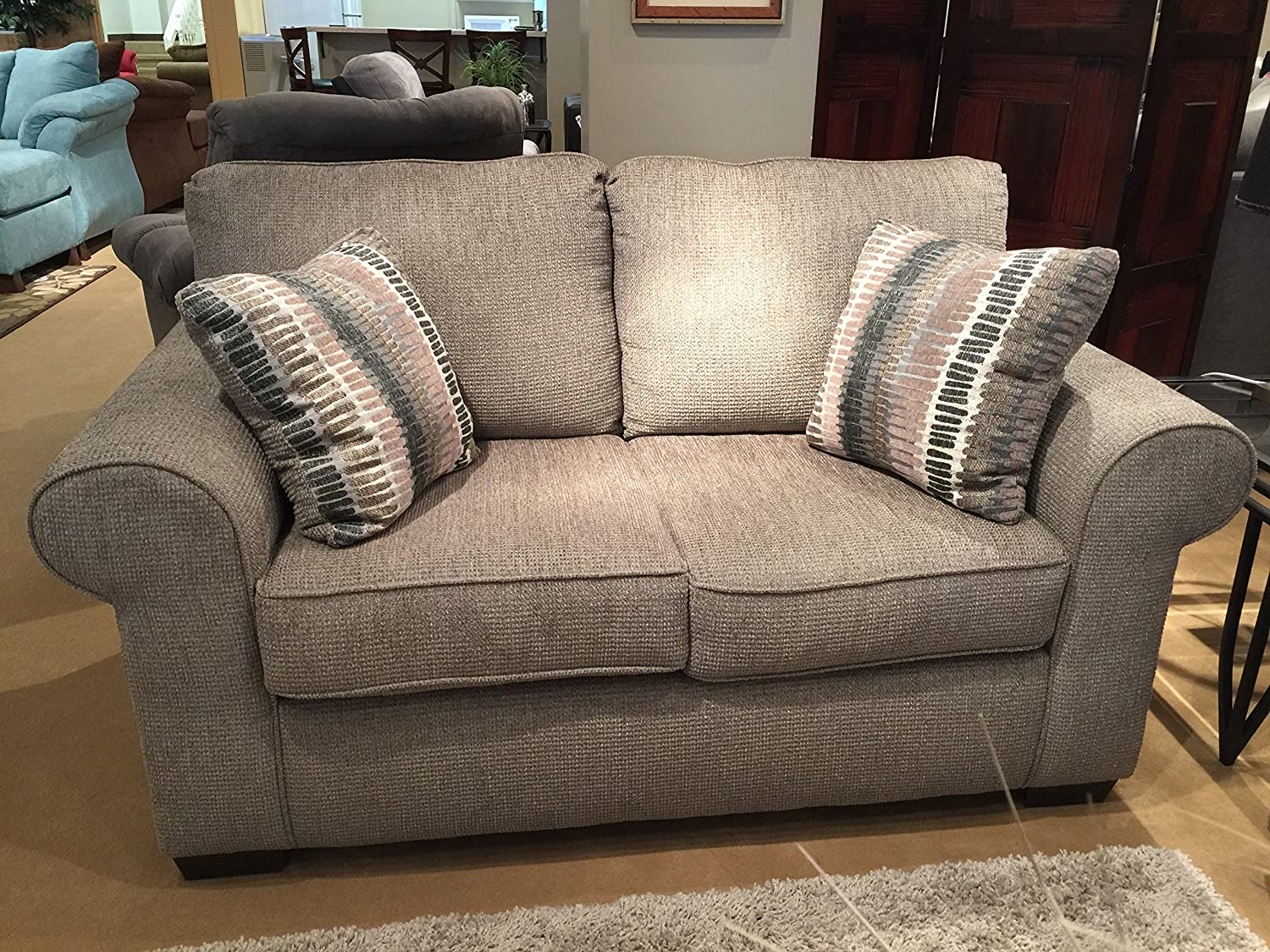 Heather Grey Fabric Loveseat w/2 Pillows  - Made In USA