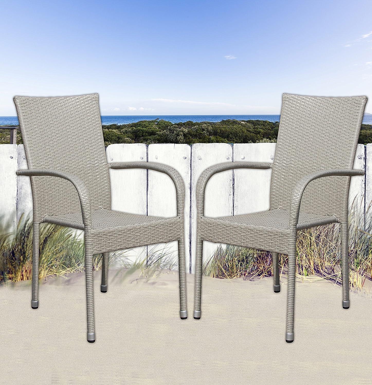 4 stapelbare Gartenstühle Balkonstühle grau in Rattanoptik Stapelstühle Stahl
