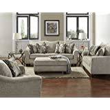 Roundhill Furniture LAF7703-02-01-05CP Camero Platinum Fabric (4 Piece) Living Room Set (Tamaño: 4 Piece Set)