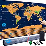 Travel Maps Scratch Off World Map | Extra Large Wall Map 33x24 inches | Traveler Map Scratch-Off World Map with Precision Scratch Pen, Scratch Pick and Bag in Gift Tube by PBP Company