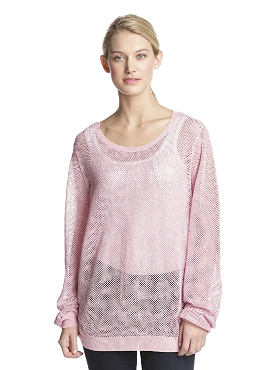 Shae Women's Open Knit Pullover Pink Silver S