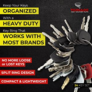 24 Keys Heavy Equipment / Construction Ignition Key Set (Tamaño: 24 Key Set)