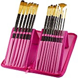 Paint Brushes - 15 Pc Brush Set for Watercolor, Acrylic, Oil & Face Painting | Long Handle Artist Paintbrushes with Travel Holder (Hot Pink) & Free Gift Box | Premium Art Supplies by MyArtscapeTM (Color: Hot Pink)