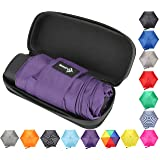 Travel Umbrella with Waterproof Case - Small, Compact Umbrella for Backpacks, Purses, Briefcases or Cars - Versatile, Unisex Design - Made with Water-Resistant Pongee Fabric - Premium Quality - Purple (Color: Purple, Tamaño: One Size)
